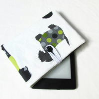 Fabric Kindle or Kindle Paperwhite case in dog print fabric