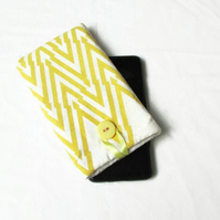 Samsung Galaxy S20plus or Iphone 11pro max phone case yellow hand printed fabric