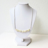 White shell chip bar necklace