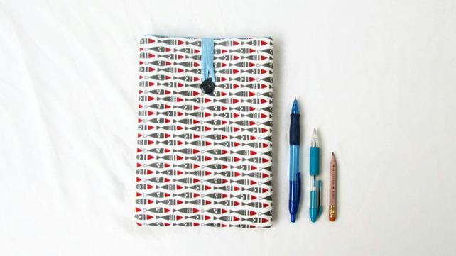 Padded fabric IPad mini case - fish print fabric