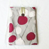 Padded fabric IPad mini case in raspberry pink and cream fabric