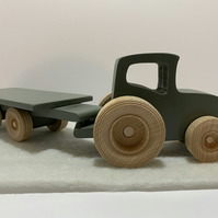 Wooden Farm Tractor and Trailer