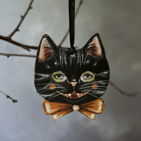 Noir the black cat laser cut hanging decoration