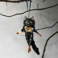 Black cat hanging decoration with brooch. Noir the black cat
