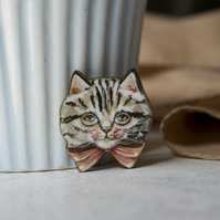 Grey tabby cat wooden brooch
