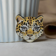 Leopard wooden brooch. Leopard badge
