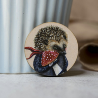 Hedgehog with a mushroom circular wooden badge