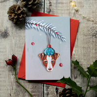 Jack Russell festive greeting note card, A6