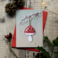 Red spotted mushroom Christmas card, A6