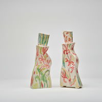 Porcelain Botanical vessels 25cm high x 9cm wide