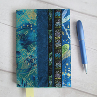 SOLD - A6 Reusable Turquoise & Teal Patchwork Notebook or Diary Cover