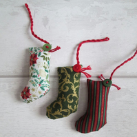 SOLD - Scrapbox Stockings, Tiny Stocking Tree Decorations