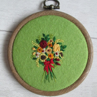 Miniature Hand Embroidered Autumnal Bouquet, Bouquet of Flowers