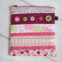 The 'Almost' Perfect Pink Patchwork Zip Top Bag, Storage Bag, Kindle Case