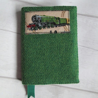 A6 'Harris Tweed' Reusable Notebook, Diary Cover - Green with Flying Scotsman