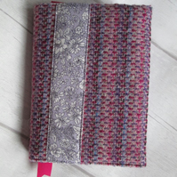 A6 'Harris Tweed' Reusable Notebook, Diary Cover - Pink, Purple & Liberty