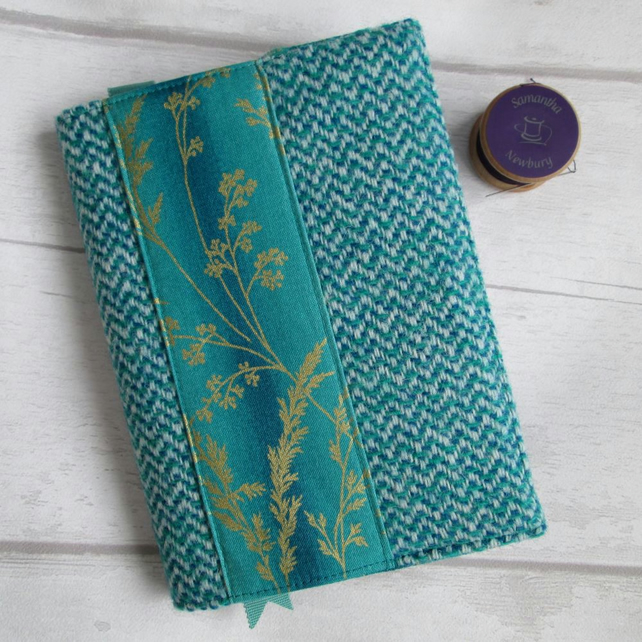 A6 'Harris Tweed' Reusable Notebook, Diary Cover - Turquoise with Gold Grasses