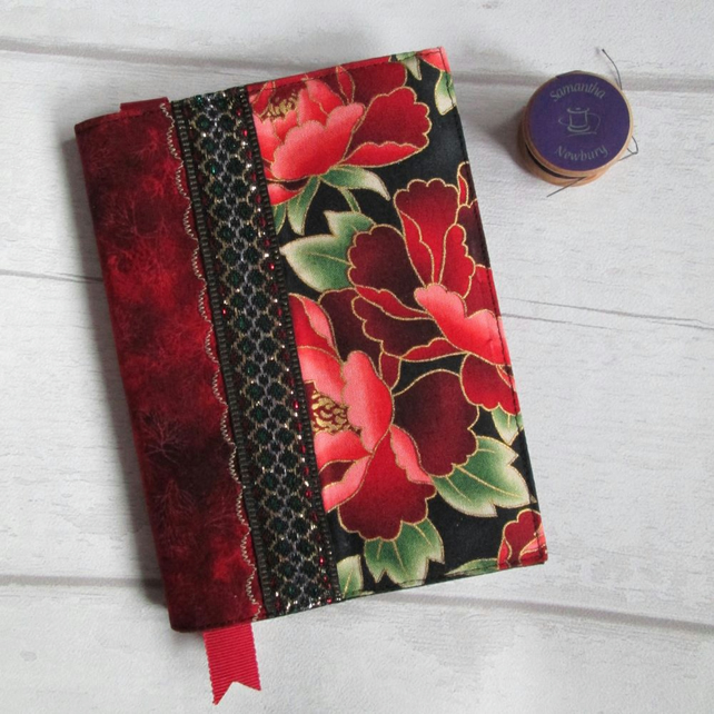 A6 Reusable Paeony & Butterflies Patchwork Notebook, Diary Cover