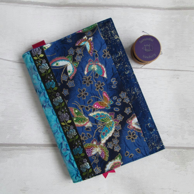 A6 Butterflies & Batik Reusable Patchwork Notebook, Diary Cover