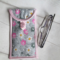 Grey & Pink Floral Glasses or Phone Case, Storage Pouch