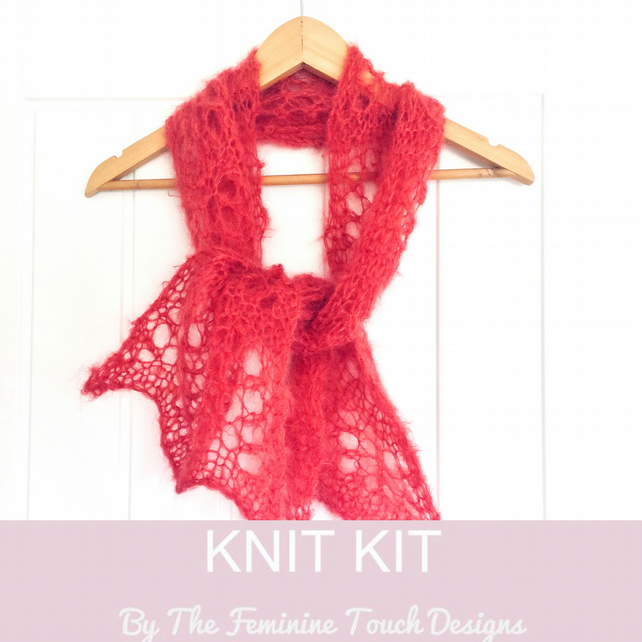 Easy Lace Scarf knitting kit