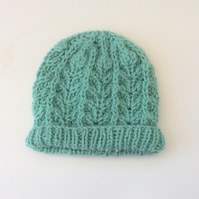 Duck Egg Blue hand knit Beanie hat