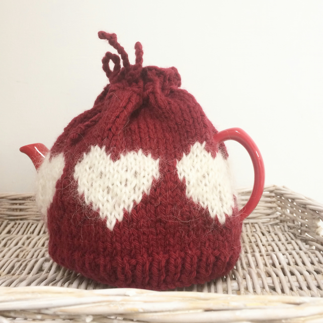 Christmas gift hand knit heart  tea cosy