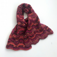 Red & Pink Striped lace scarf