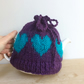 Purple Christmas gift hand knit heart  tea cosy