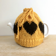 Mustard Yellow Christmas gift hand knit heart  tea cosy