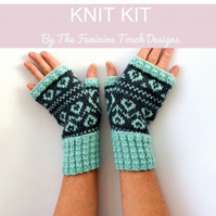 Valentine Fairisle Fingerless Gloves Knitting Kit -
