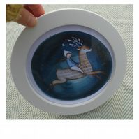 Deer spirit limited edition print in round frame