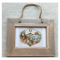Unravel small print in driftwood frame