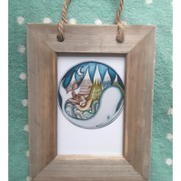 Whale small print in driftwood frame