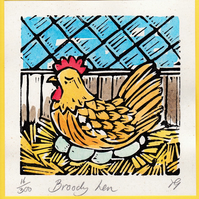 """Broody Hen"" Linocut Greetings Card, Birthday, New Baby, Special Occasion"