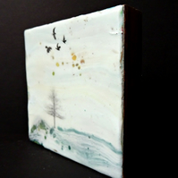 Original Encaustic Abstract Landscape Painting - Birds - Scotland