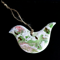 Bird Shaped Ceramic Hanging Decoration - Beeswax - Scotland