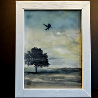 Original Encaustic Painting - Crow - Wild Bird - Scotland