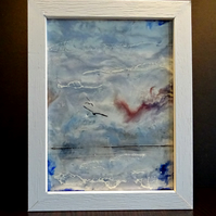 Original Encaustic Abstract Seascape Painting - Birds - Scotland