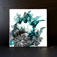 Original Abstract Flower Painting - Ink - Wax