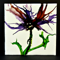 Botanical Wax and Ink Painting - Abstract Flowers