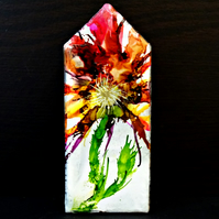 House Ornament - Wooden House - Miniature House - Flower Painting