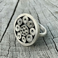 Sterling silver statement crater ring