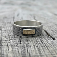 Sterling silver and 9ct gold ring
