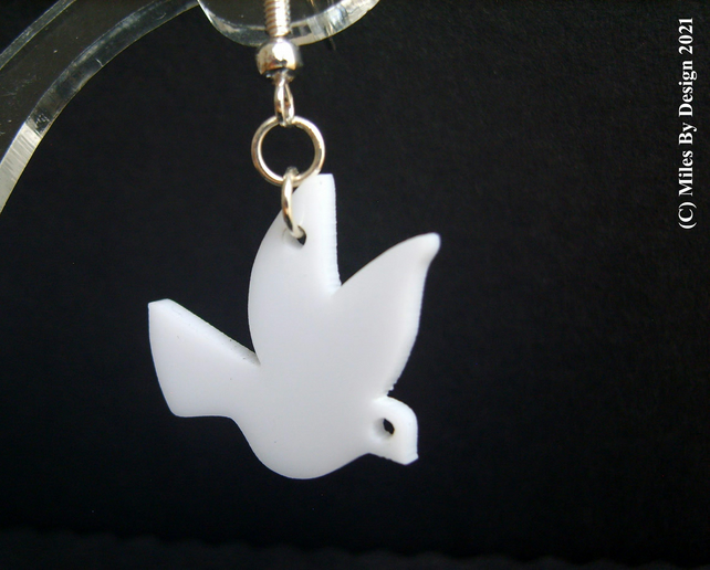 White Doves Of Peace on Sterling Silver Ear Hooks