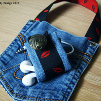 Up-cycled Denim Phone Holder and Earphone Tidy