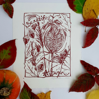 'Beautiful Autumn' Linoprint