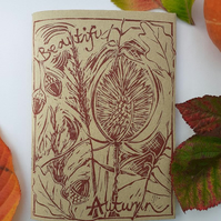 'Beautiful Autumn' Hand Printed Sketchbook (A)