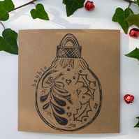 Hand Printed Festive Bauble Card