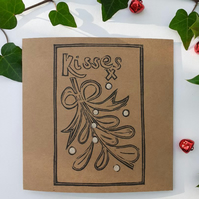 Hand Printed Mistletoe Kisses Card